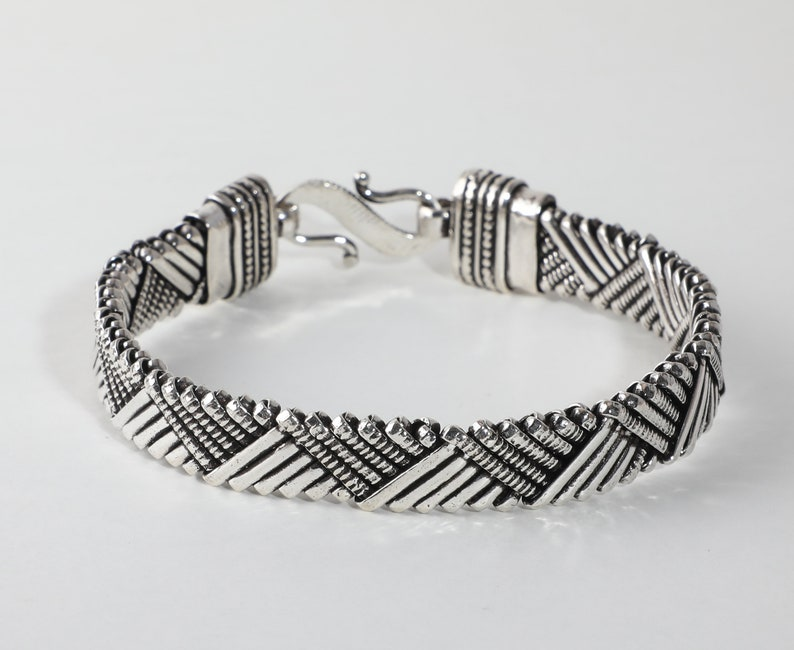 Handmade Jewelry 925 Solid Sterling Silver Length- 7 to 8.25 Antique Bracelet Oxidized Bracelet Bohemian Unique Chain Bracelet