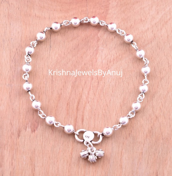 Silver Beaded Anklet Length 10.5 Inches 925 Solid Sterling Silver Anklet Trendy Silver Anklet KA-19 Silver Oxidize Anklet