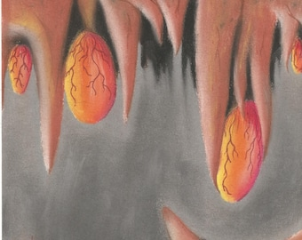Alien Egg Cave, pastel, artwork