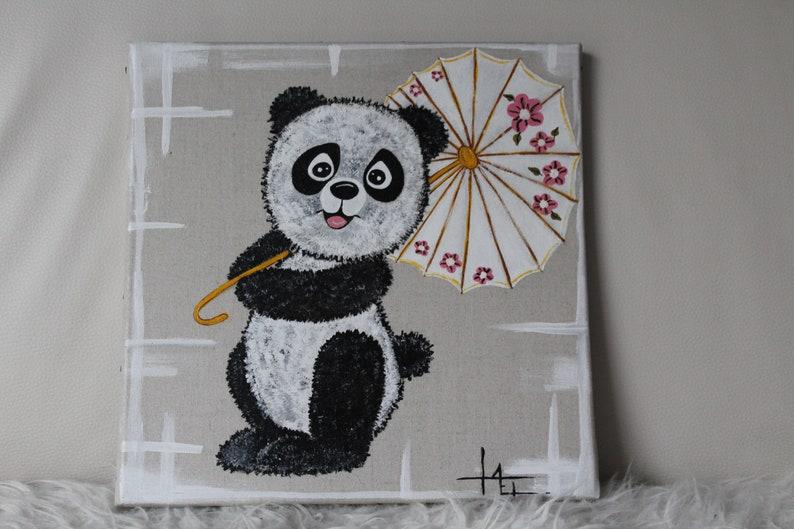 Panda Mit Ihrem Schirm Acryl Auf Leinwand Malen