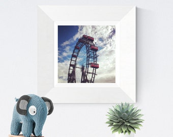 antique old ferriswheel wall photo art print digital download, photo art to print, carnival theme