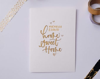 Personalised Home Sweet Home A6 Card | Caramel or Grey | Typography | Calligraphy | Hand Lettered