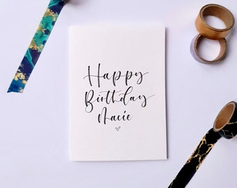 Personalised Hand Lettered Birthday Card with Envelope | Hand Made | Happy Birthday