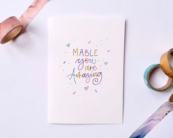 Personalised You Are Amazing Hand Lettered Card | A6 | Calligraphy | Typography | Positive Post | Rainbow Lettering