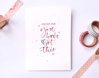 Personalised Hand Lettered 'You Can Do This' A6 Card | Multicoloured | Calligraphy | Typography | For a Friend | With Envelope