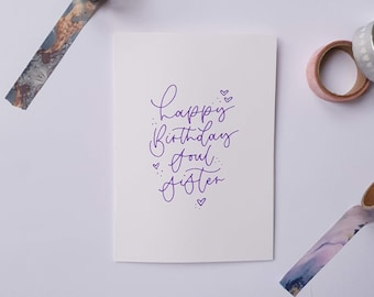 Happy Birthday Soul Sister A6 Card | Hand Lettered | Calligraphy | Purple Typography