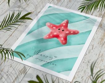 A4 Starfish Personalised Print | Nursery Prints | New Baby Gifts | Sea Creature Print | Nursery Decor | Print Art | Kids Gifts |