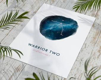 Warrior 2 A4 Yoga Print | Yoga Gifts | Mindfulness | Yogi Art | Wall Decor | Yoga Poses | Yoga Poster | Yogi Gifts | Gifts for Her