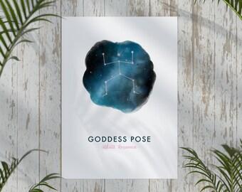 Goddess Pose A4 Yoga Print | Yoga Gifts | Mindfulness | Yogi Art | Wall Decor | Yoga Poses | Yoga Poster | Yogi Gifts | Gifts for Her