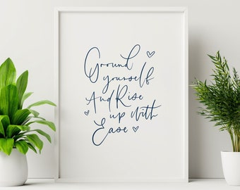 A4 Yoga Print | Ground Yourself | Inspirational Wall Art | Motivational | Studio Art | Home Decor | Yoga Quote
