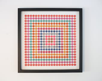 Concentric squares of dots original 3D collage colour study - Birch wood, ink metallic and acrylic