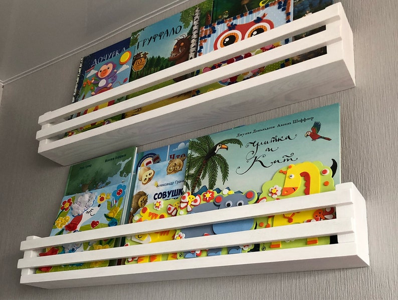 Weißes Bücherregal, Kinder Buch Wandregal, Wandregal, schwimmende Regal,  Kinderzimmer Wand Bücherregal, Holz Ledge Regal
