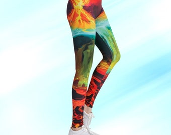 d1df2382fd9 Colorful Abstract Fire Printed Leggings 3D Fiery Fitness Legging