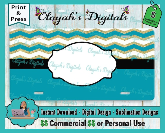 blue and gold license plate template sublimation etsy
