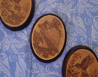 Vintage Wood Owl and Hummingbird 3 Piece Wall Decor Hanging