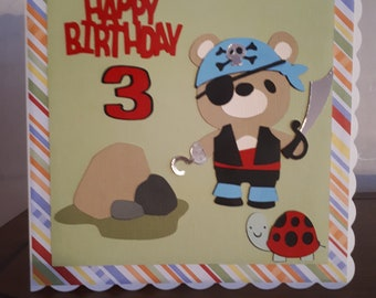 A fab 6x6 handmade pirate birthday card, suitable mainly for a boy