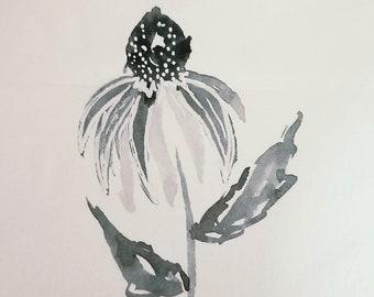 Original watercolor cone flower doodle