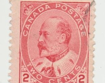 Canadian Two Cent King Edward VII Stamps