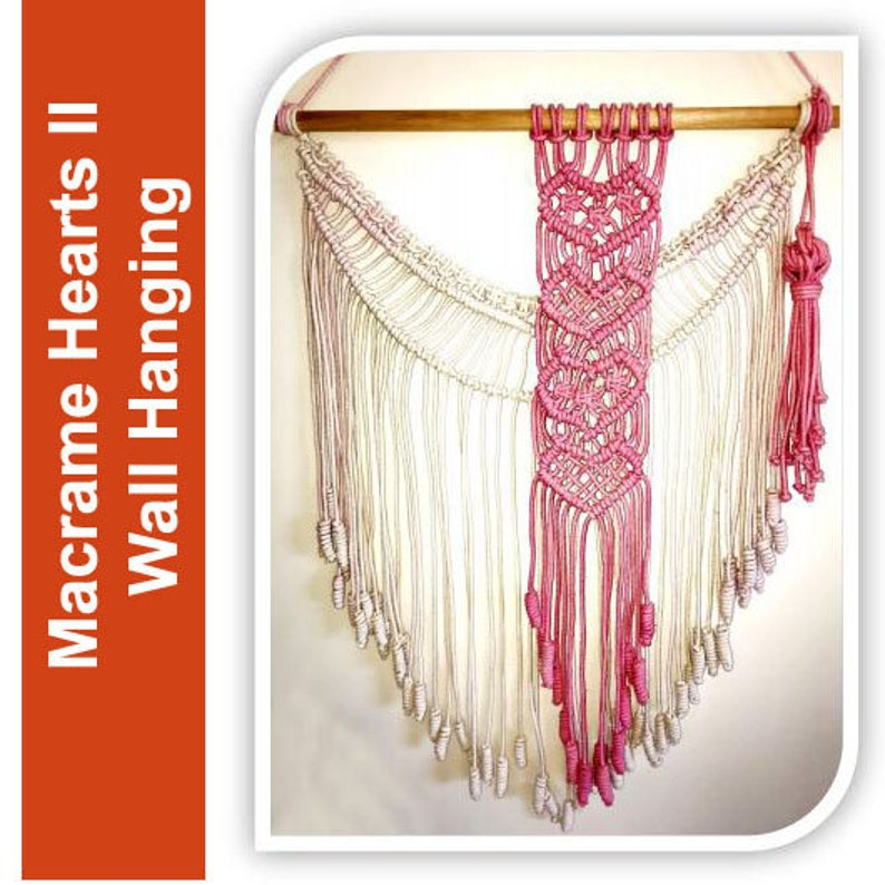 Tutorial  Macrame Hearts Wall hanging Valentine's Day image 0