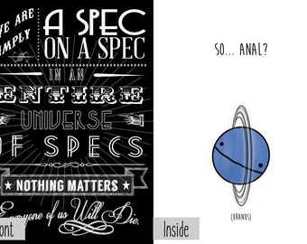 Might as Well Spec on a Spec Insignificant So, Anal? Greeting Card Nihilism Dark Humor Funny Sarcastic Joke Novelty Lover Friend Anniversary