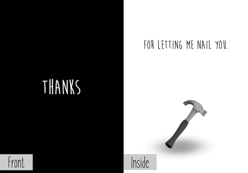 Thanks For Letting Me Nail You Greeting Card Dark Humor Funny image 0