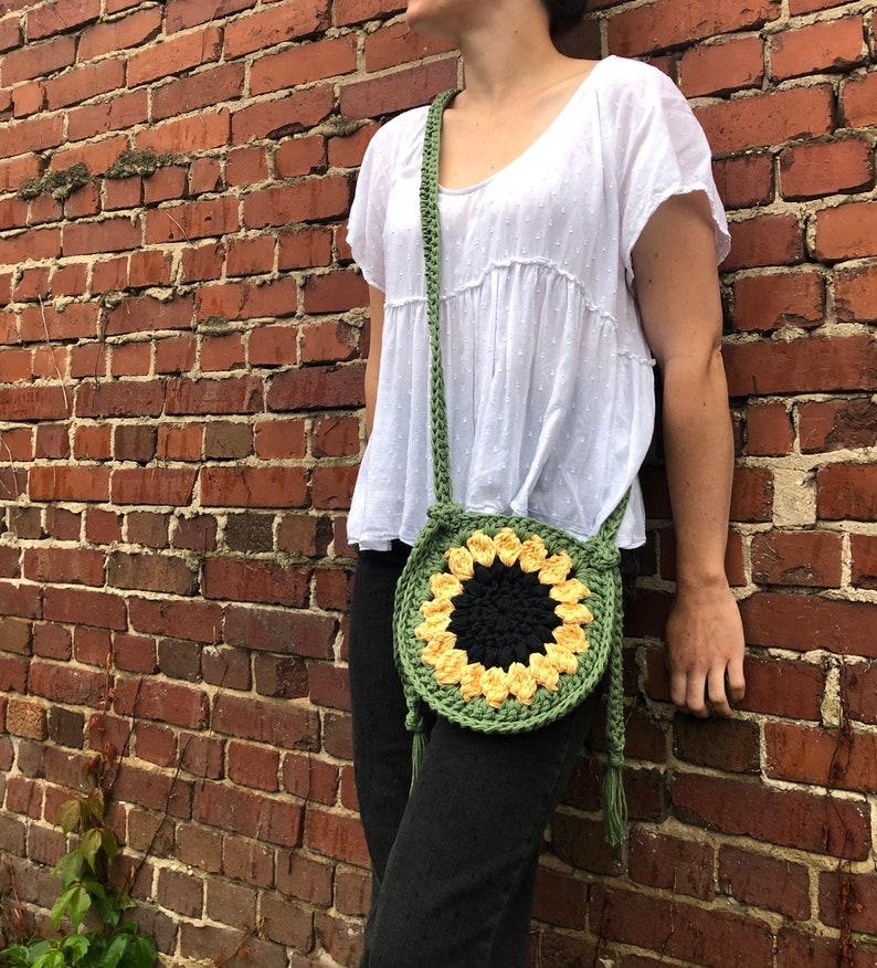 sunflower coaster Sun-Flower-Power crossbody bag pattern PATTERN ONLY Crochet bag pattern earrings pattern beginner pattern