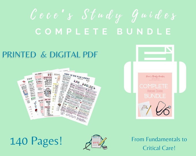 PRINTED + DIGITAL - Complete Study Guide Bundle - Includes Physical copy and Pdf - NCLEX study guide