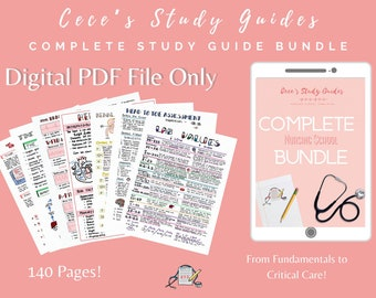 DIGITAL - Complete Nursing Study Guide Bundle - 140 Pages - Fundamentals to Critical Care - Nursing Notes - NCLEX - Cece's Study Guides