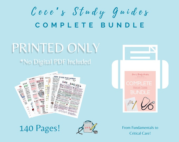 PRINTED ONLY - Complete NCLEX Study Guide Bundle - Includes Physical - No pdf file included