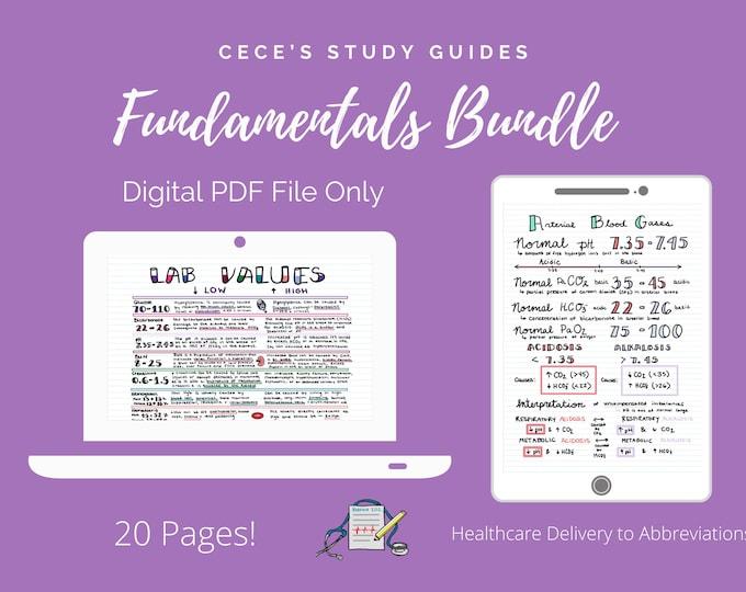 Fundamentals of Nursing 21 Page Bundle - Cece's Study Guides - Nursing School Notes - Pass NCLEX