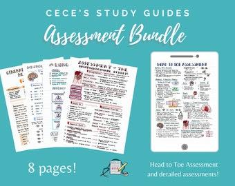 Assessment Bundle - Nursing School Notes to help pass NCLEX RN or LPN - Cece's Study Guides Nursing Notes