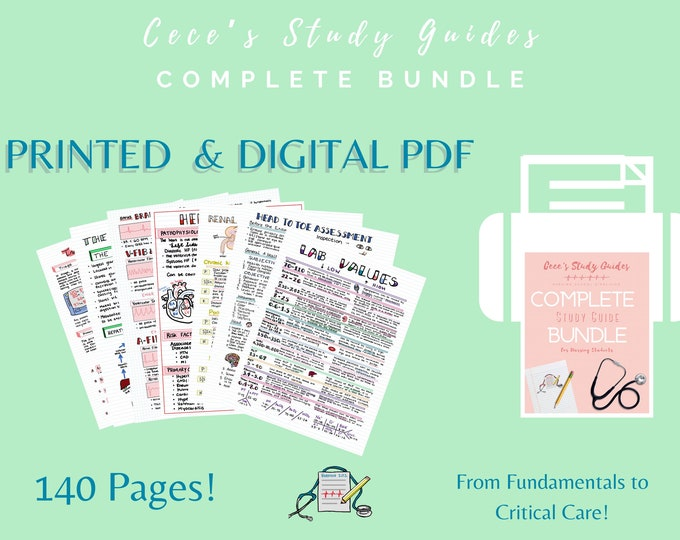 PRINTED + DIGITAL - Complete Nursing Study Guide Bundle - Includes Physical copy and Pdf - NCLEX study guide