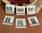 Turquoise Slab Earrings, Navajo Handmade Earrings with Sterling Silver Hooks