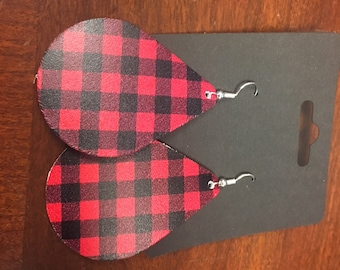 LEATHER Red Plaid earrings....Large....Sterling Silver