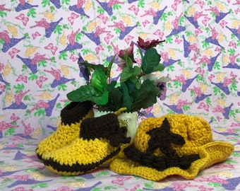 Cowboy / Cowgirl Bootie and Hat Set (Dijon Yellow and Brown)