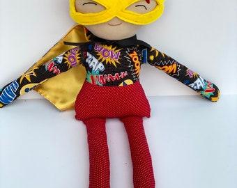 Handmade Cotton Superhero Rag Doll Plush Kids Toy