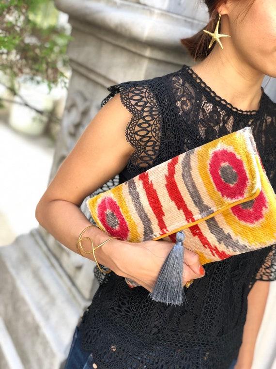 Ikat Bag Ikat Handbag Women Clutch Bag Clutch Bag Evening Bag Mini Bag Velvet Clutch Bag Women Bag Ikat Clutch Bag
