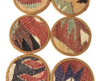 Kilim Coasters /Coaster/Drink Coasters /4,5inch /Home decor/handmade/wool coasters/housewarming gift