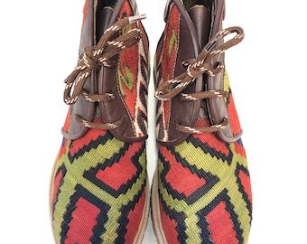 Kilim boots, Size 41,kilim shoes,Vintage Kilim, Leather,Kilim lace up shoes, Kilim Unisex,leather boots