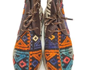 Kilim boots, Size 40, kilim shoes,Vintage Kilim, Leather,Kilim lace up shoes, Kilim Unisex,leather boots