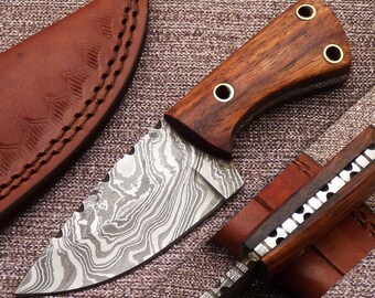 "Small Game Custom Handmade Damascus Steel Hunting Knife  6"" with Three Lanyard Holes"
