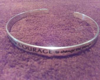 Sterling Silver AA Serenity Prayer Cuff Bracelet