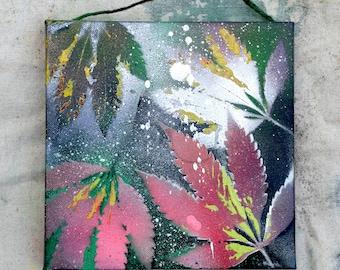 Cannabis Stencil Art - Painting On Canvas