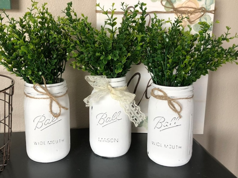 Wide Mouth Mason Jar Centerpieces~Chalkpaint~rustic~farmhouse decor~gifts~table decor~