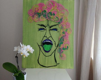 Angry face,original painting,canvas,acrylic,3D pen,emotions,face,people,woman,expression,anger,life