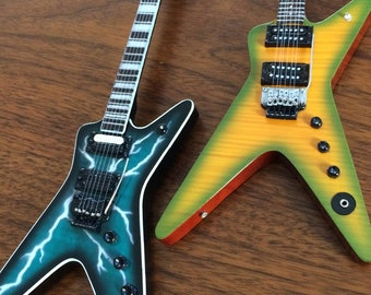Licensed SET OF 2 Dimebag Darrell Signature Mini Guitars - Lightning Bolt & Slime