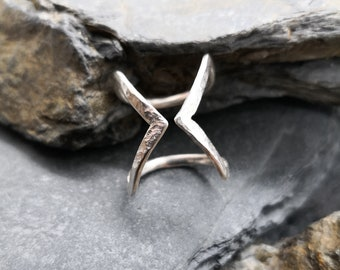 Adjustable Geometric Silver Triangle Jacket Ring