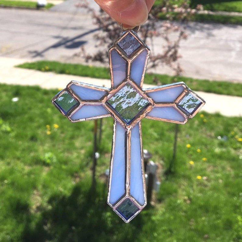 Original Design  Handmade Stained Glass Cross in Pale Blue Opalescent /& Blue Cathedral Glass Stained Glass Suncatcher