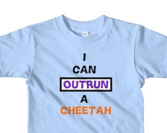 I can outrun a cheetah t-shirt 2-6 yrs,toddler tshirt, kids tshirt, gift for kids, funny toddler tshirt, fun toddler tshirt
