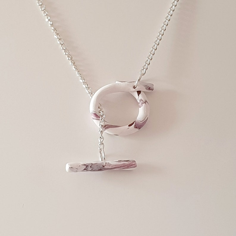 Polymer Clay Design Minimal Jewellery Marble Clay Effect with Mixed Colours Thick Curb Chain Toggle Necklace Original Design